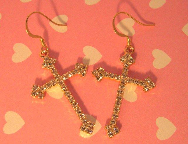 Golden Cross Earrings With Swarovski Crystal