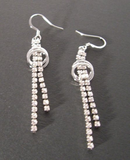 Rhinestone 2-Strand drop + twin circle Earrings -- Silver Tone