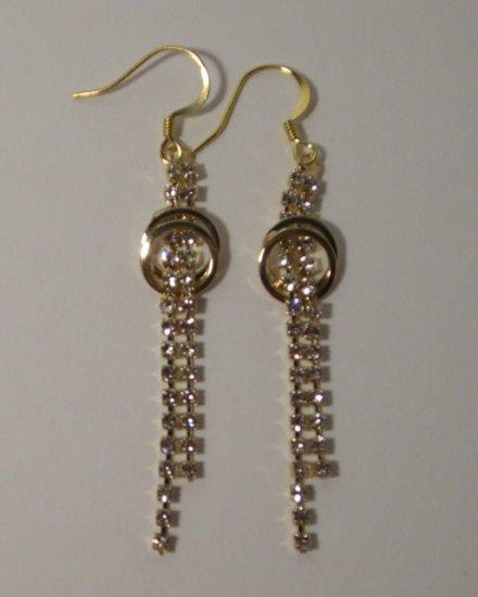 Rhinestone 2-Strand drop + twin circle Earrings -- Gold Tone