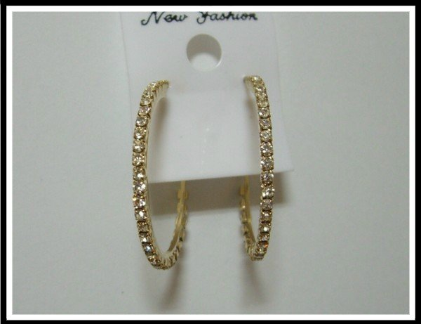 Bling Bling Hoop Earrings With Swarovski Crystal -- Gold Tone