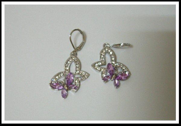 E29 Twin Butterfly Earrings With Czech Rhinestone