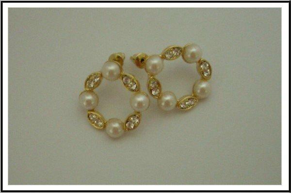 E34 Sparkle Faux Pearl Earrings With Czech Rhinestone