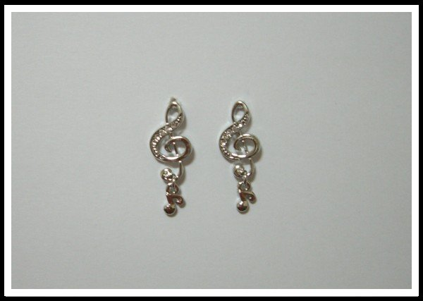 E49 Music Sign Earrings With Rhinestone