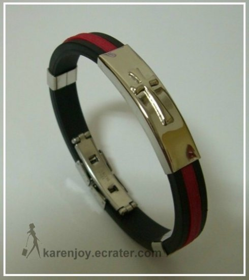 Black + Red Silicone With Cross Pattern Stainless Steel Bracelet