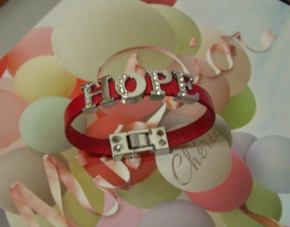 Custom made rhinestones letter leather bracelet