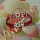 Custom made rhinestones letter leather bracelet
