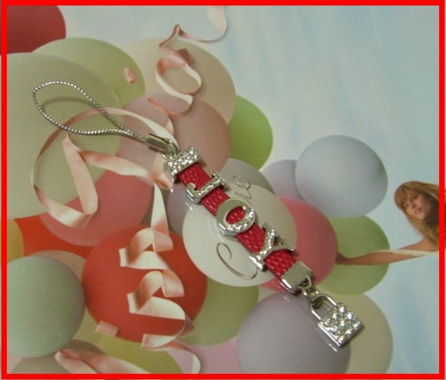 Custom made rhinestones letter leather cell phone straps