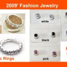 Sparkle Elastic  Rhinestone Rings + 3mm Magnetic Rhinestone Earrings (1 pack)