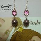 EP5 Swarovski Crystal Pearls Earrings (Pink + Burgundy)