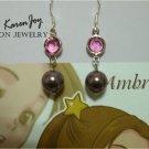EP5 Swarovski Crystal Pearls Earrings (Pink + Burgundy)