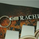 "Custom made rhinestones letter ""RACHEL"" leather key chains"