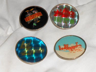 Led Zeppelin enamel pinback lot of ( 4 ) *Original* 1980's button