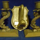 Solid Brass Nautical Candlesticks & Door Knocker U.S. NAVY Dolphin Serpent