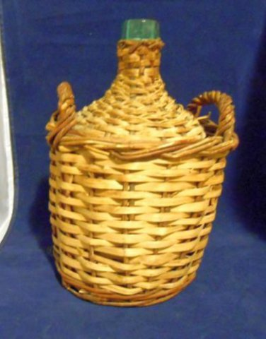 Antique Spain Viscera Green Glass Wicker Demijohn