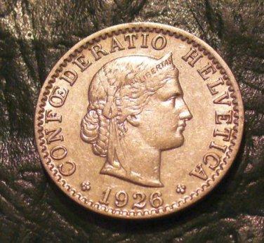 1926 B Switzerland 20 Rappen