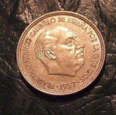 1957 5 PTAS PESETAS SPAIN