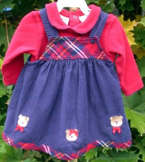 Infant Dress Jumper Red and Navy 6-9mo The Mayfair Company
