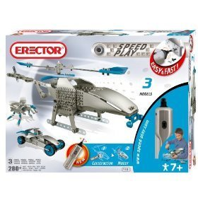 Erector Speed Play Motorized Helicopter,Builds 3 models
