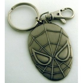 Spider-Man Head  Oval Shaped Pewter Key Ring
