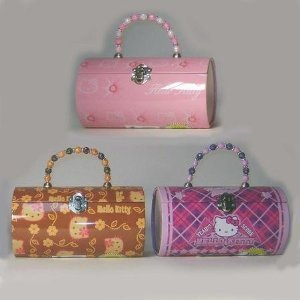 HELLO KITTY TIN ROLL BAG with BEADED HANDLE by Tin Box Co.
