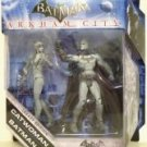 BATMAN ARKHAM CITY-BATMAN & CATWOMAN 2 PACK ACTION FIGURE SET black & white deco
