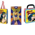 WONDER WOMAN GIFT SET OF 3 ITEMS: BENDABLE, TOTE BAG, AND TIN BOX