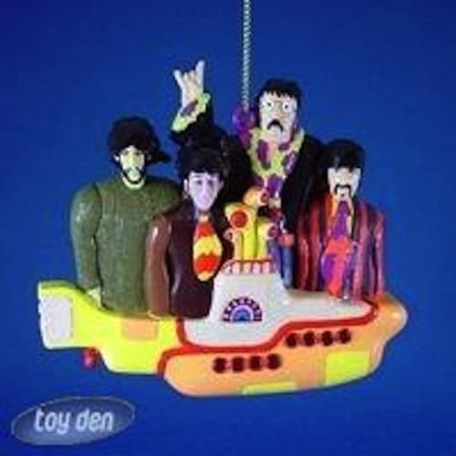 BEATLES YELLOW SUBMARINE W/ GROUP CHRISTMAS ORNAMENT