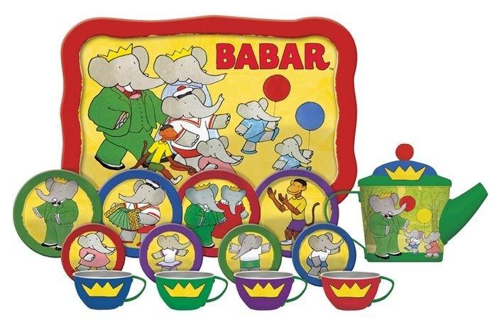 BABAR THE ELEPHANT 15 PIECE TIN TEA SET