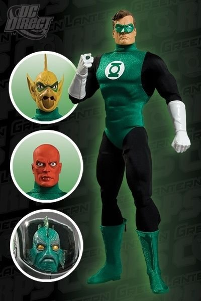 DC 13 inch GREEN LANTERN DELUXE COLLECTORS ACTION FIGURE with ALTERNATE HEADS
