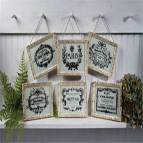VINTAGE LOOK FRENCH ADVERTISING FRAMES SET OF 6
