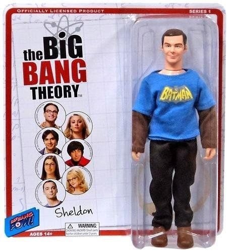 BIG BANG THEORY SHELDON IN A VINTAGE BATMAN T-SHIRT ACTION FIGURE