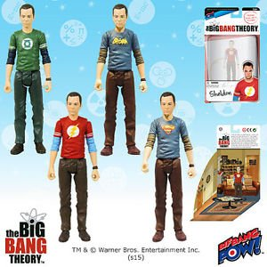 """Big Bang Theory Sheldon 3 3/4"""" set of 4 pieces with T-shirts Action Figures"""
