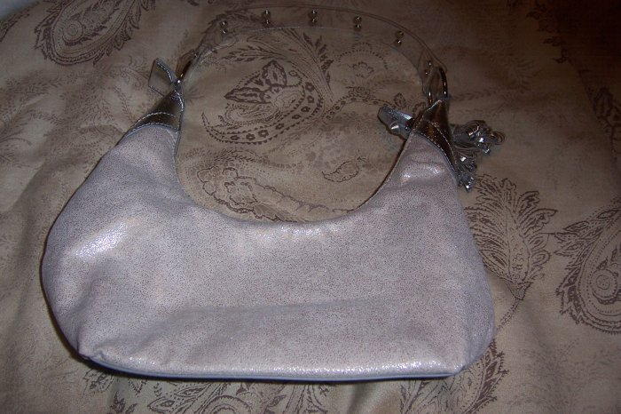 Silver Distressed Material Purse