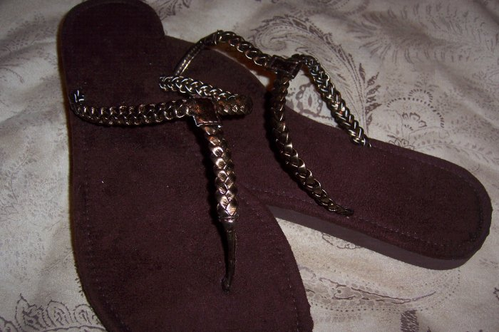 Bronze Braided Thong Sandals