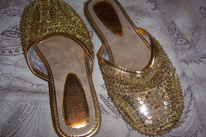 Gold Sequin Flats
