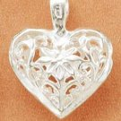 Diamond Cut Filigree Heart With Center Flower