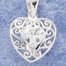 Fancy Scroll Design Charm W Heart Shaped Clear Cz