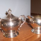 Silver creamer and sugar bowl