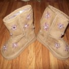 Suede Boots Purple Flowers Faux Rhinestone Center Infant Girl Boots Size 4 UK FREE SHIPPING