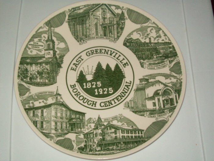 East Greenville Borough Centennial 1875 1975 Green White Commerative Plate