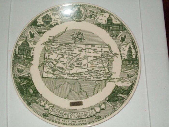 Pennsylvania Keystone State Kettlesprings Kiln Green White Commerative Plate