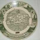 Pennsylvania Keystone State Kettlesprings Kiln Green White Commerative Plate