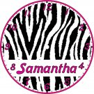 Personalized Girls Bedding Decor Zebra Pink Print Clock