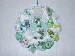 Green Baby Diaper Wreath #002