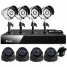 Zmodo 8CH Video Surveillance Camera System with 4 Bullet & 4 Dome CCD Cameras-KDF8-NARCB44N