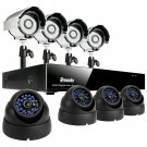 Zmodo 8CH CCTV Surveillance System with 4 Bullet &4 Dome CCD Security Cameras-KDF8-NARCB44N-5G