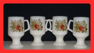 Set of 4 Vintage Hoosier Milk Glass Pedestal Mugs, Exc.