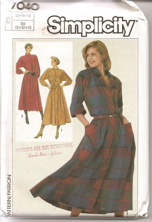 Simplicity 7040 Pattern dress size 12, 14, 16 uncut