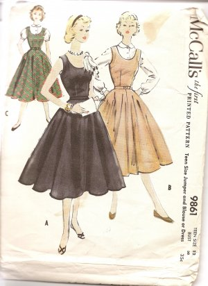 McCall's 9861 Vintage Dress & Blouse Jumper Pattern