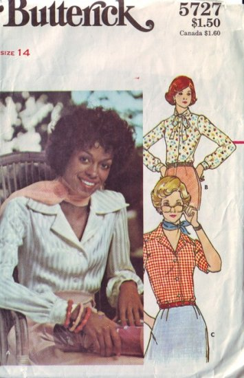 Vintage Butterick Blouse Pattern 5727 Size 14